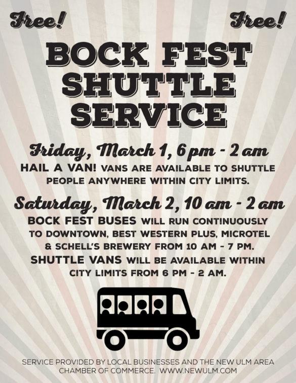 2019 Bock Fest Shuttle poster