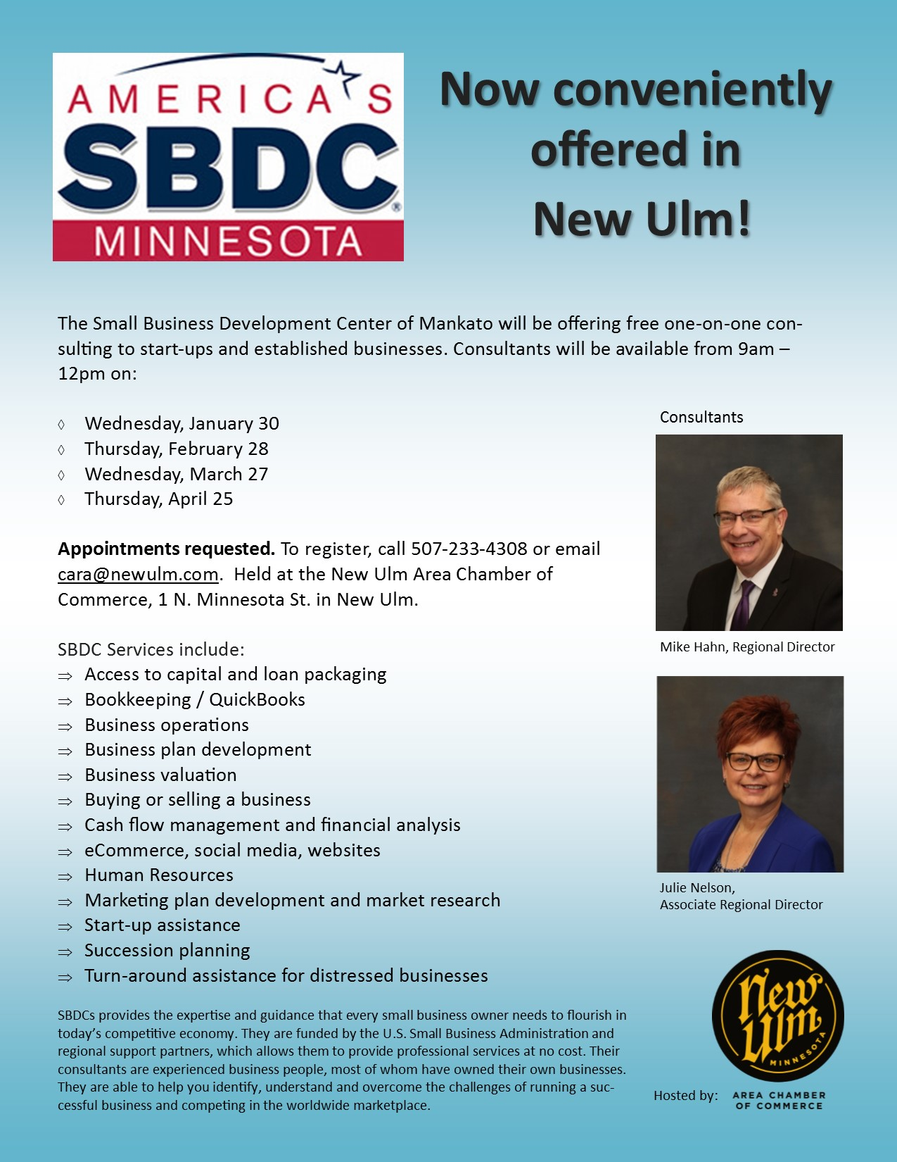 SBDC Flyer for standing appointments