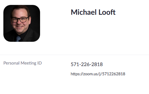Zoom Meeting Info for Michael Looft